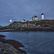 Full Moon Rise Over Nubble Poster