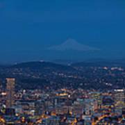 Full Moon Rising Over Portland Cityscape Poster