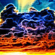 Funky Glowing Electrified Rainbow Clouds Abstract Poster