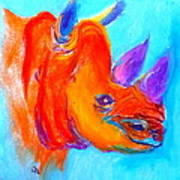 Funky Rhino African Jungle Poster