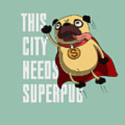 Funny Cartoon Character Pug Design For Poster