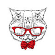 Funny Cat In A Tie And Glasses. Vector Poster