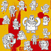Funny Doodle Characters Urban Art Poster