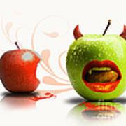 Funny Satirical Digital Image Of Red And Green Apples Strange Fruit Poster by Sassan Filsoof