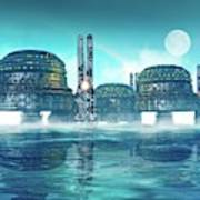 Futuristic City On Water Poster