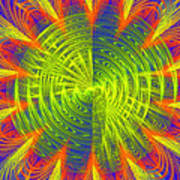 Futuristic Disc Blue Red And Yellow Fractal Flame Poster by Keith Webber Jr