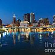 Fx2l472 Columbus Ohio Night Skyline Photo Poster
