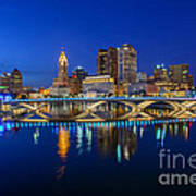 Fx2l530 Columbus Ohio Night Skyline Photo Poster