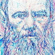 Fyodor Dostoyevsky / Colored Pens Portrait Poster