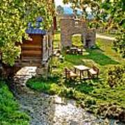 Gacka River Spring Watermill And Historic Ruins Poster
