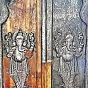 Ganesh Door Plating At The Yoga Maya Hindu Temple In New Delhi India Poster
