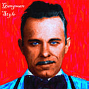 Gangman Style - John Dillinger 13225 - Red - Painterly - With Text Poster by Wingsdomain Art and Photography