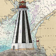 Gannet Rock Lighthouse New Brunswick Canada Nautical Chart Art Poster
