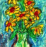 Garden Flower Mono-print Poster by Don Thibodeaux