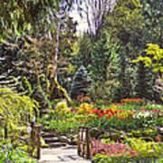 Garden With A Bridge Poster