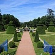 Gardenpath With Blue Gates - Burgundy Poster