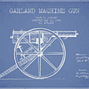 Garland Machine Gun Patent Drawing From 1892 - Light Blue Poster
