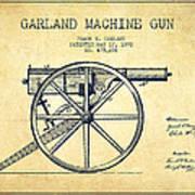 Garland Machine Gun Patent Drawing From 1892 - Vintage Poster