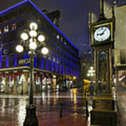 Gastown Steam Clock On A Rainy Night Poster