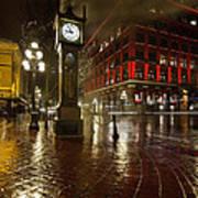 Gastown Steam Clock On A Rainy Night Vertical Poster