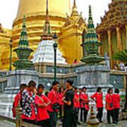 Gathering Near Pagodas Of Grand Palace Of Thailand In Bangkok Poster