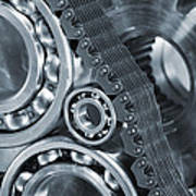 Gears And Cogs Titanium And Steel Power Poster