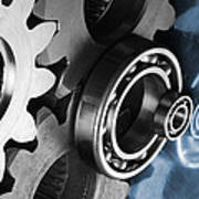 Gears And Cogwheels Reflection Poster