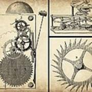 Gears Industrial Or Steampunk Collage Art Poster