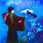 Geisha With Butterflies Poster by Jeff Burgess