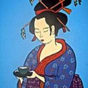 Geisha With Cup Poster