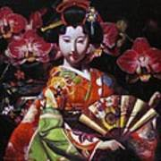 Geisha With Orchids Poster