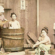 Geishas Bathing Poster