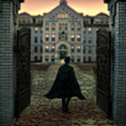Gentleman In Top Hat And Cape Walking Through Gates Poster