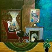 Gentleman Sitting In Wingback Chair Enjoying A Brandy Poster