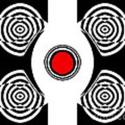 Geometric Abstract Black White Red Art No.400 Poster