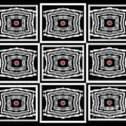 Geometric Op Art Black White Red Digital Abstract Print No.378. Poster by Drinka Mercep