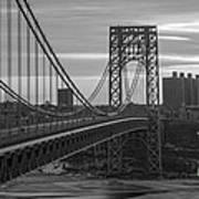 George Washington Bridge Frame Work Bw Poster