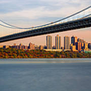 George Washington Bridge In Autumn Poster