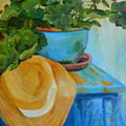 Geraniums And A Hat Poster