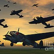 German Heinkel Bombers Taking Poster