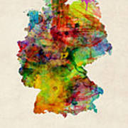 Germany Watercolor Map Deutschland Poster