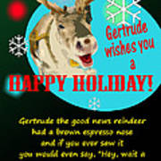 Gertrude The Good News Reindeer Poster