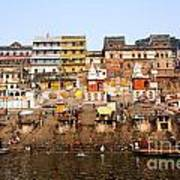 Ghats In The River Ganges At Varanasi In India Poster