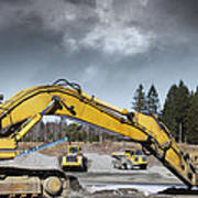 Giant Bulldozers In Action Poster