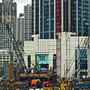 Downtown Chicago High Rise Construction Site Poster
