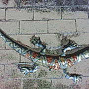 Giant Lizard On A Wall Poster