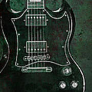 Gibson Sg Standard Green Grunge With Skull Poster
