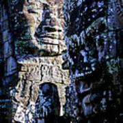 Gigantic Face Statues At Khmer Temple Angkor Wat Ruins Cambodi Poster