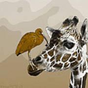 Giraffe And Friend Poster