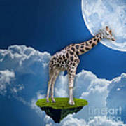Giraffe Flying High Poster